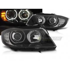 BMW E90, E91 03.2005-2011 predné číre svetlá Angel Eyes LED black indicator (LPBMJ1)
