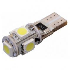 Žiarovka 5 veľkých LED T10 CANBUS s odporom biela 1 ks