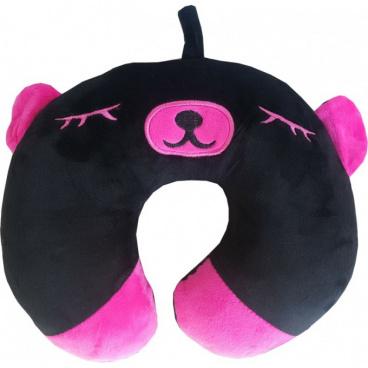Cestovný vankúšik medvedík čierno-fialový