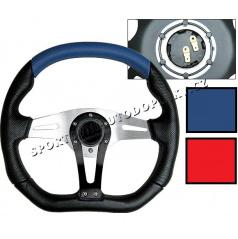 Športový volant Technic III 350 mm modrý alebo červený, výpredaj skladu