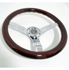 Športový kovový volant s imitáciou dreva o priemere 350 mm