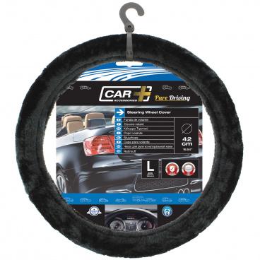 Poťah na volant čierny chlpatý 37-39 cm (veľká hustota vlákna)