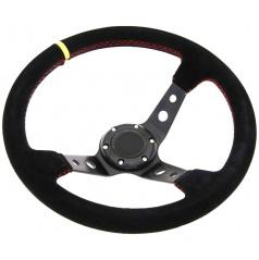 Športový volant WRC čierny semiš 350 mm (červený steh)