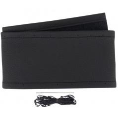 Potah na volant kožený černý/ černý šev pro průměr 37-39 cm