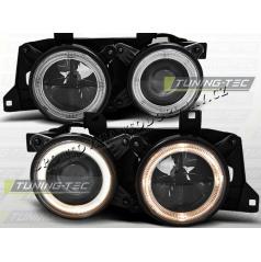 BMW E32 E34 Predné číre svetlá Angel Eyes black (LPBM60)
