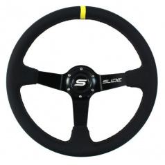 Športový volant WRC čierná koža Yellow Strip 350 mm