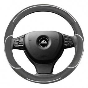 Poťah na volant - čierna s bielou linkou S