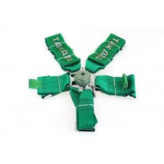 6-bodový bezpečnostný pás CAM LOCK 75 mm zelený s logom Takata