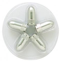 Čepičky na ventilky stříbtné ve tvaru náboje 4ks