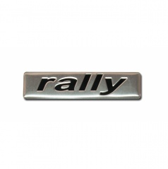 Plastický znak RALLY alu prevedenie s podlepením 70x17 mm