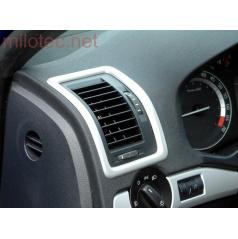 Dekory interiéra, sada 2 (rámčeky ventilácie 3 ks) ABS-strieborné matné, Škoda Octavia II, Škoda Octavia II Facelift